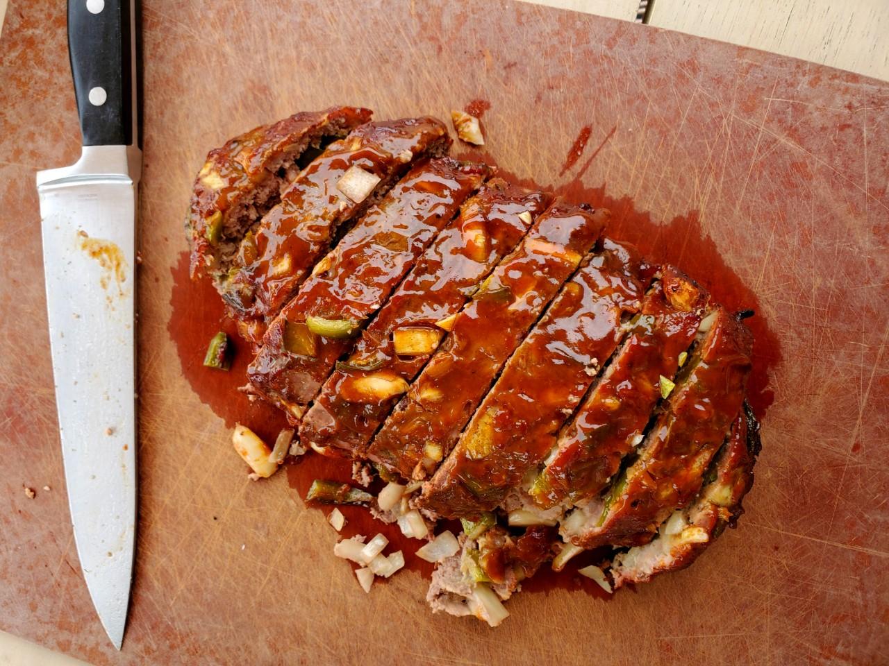 Garlic Studded Meatloaf Sliced