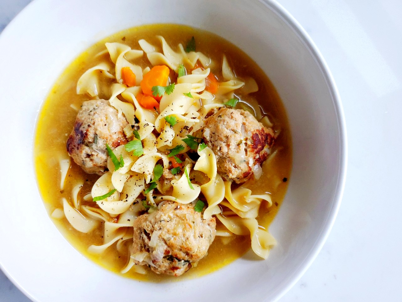 sage turkey meatball + noodle soup