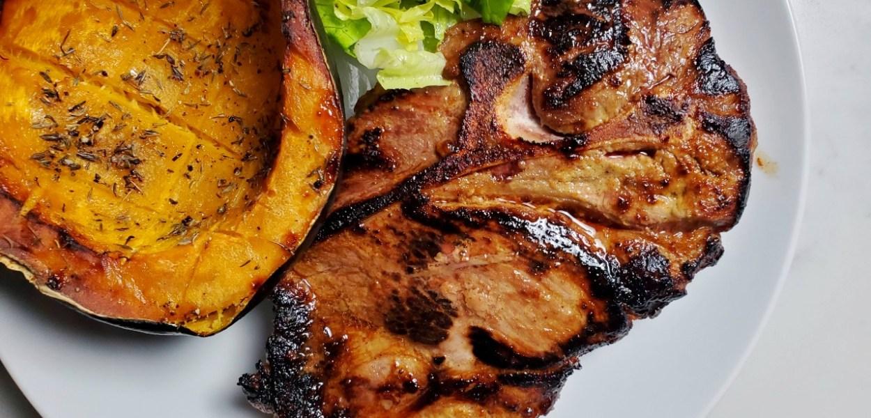 Marinated and Grilled Pork Steak