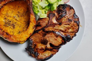 Marinated and Grilled Pork Steak