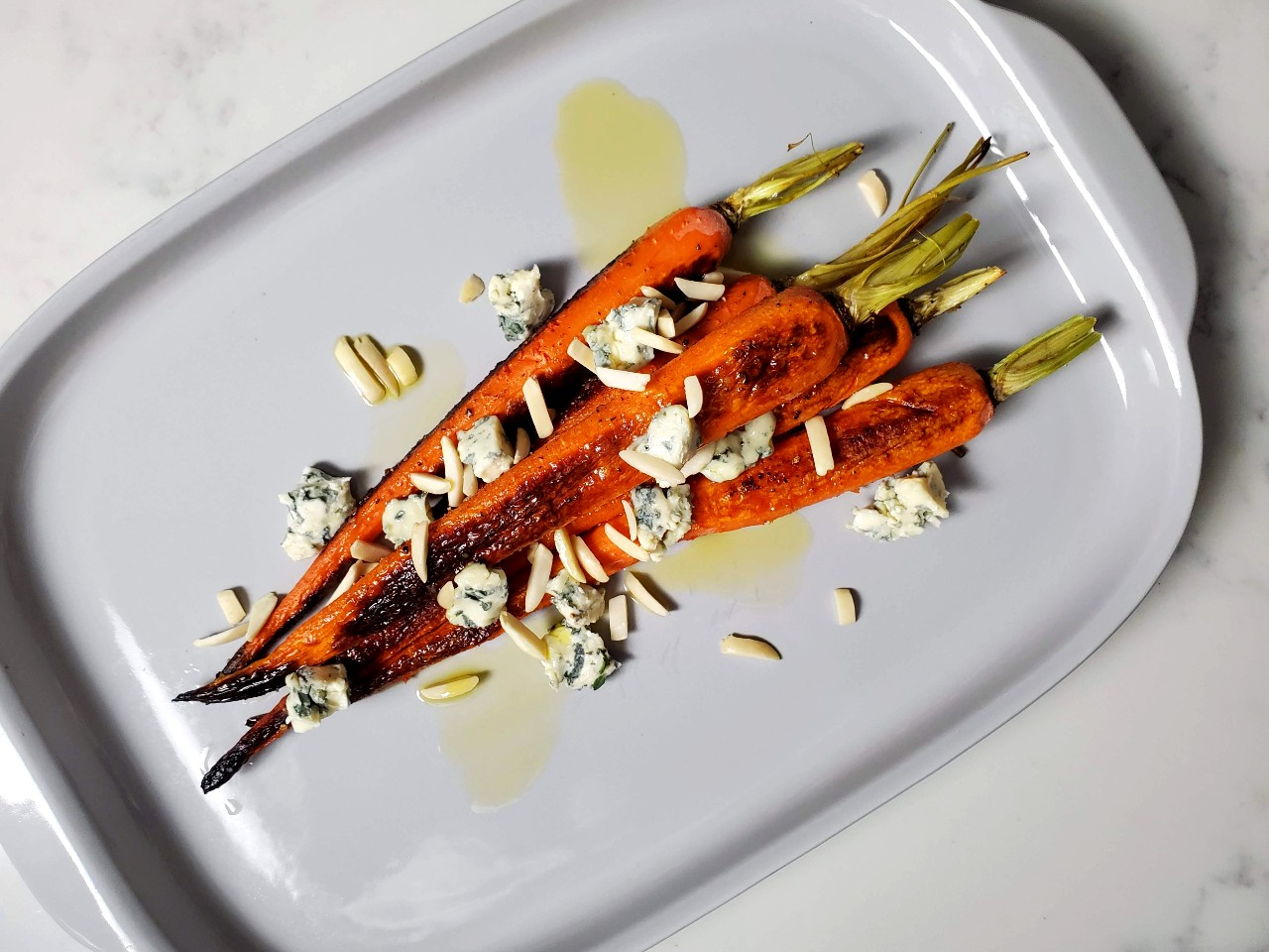 roasted carrots in duck fat with blue cheese