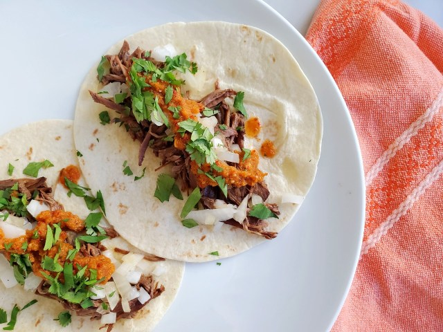 Top Round Steak Tacos with Salsa and Cilantro