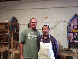 Pastor Santiago and me in his workshop.