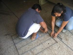 Preparing the rebar.