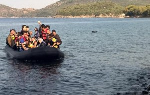 Refugees crossing the Agean Sea leaving Turkey to Lesbos,Greece.