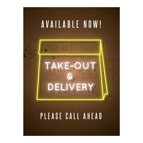 Take out and delivery sign
