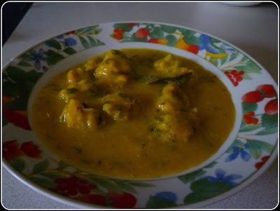 Rasiya Muthias with methi - Fenugreek Dumplings in creamy soup