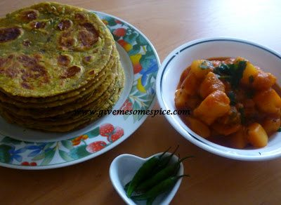 Theplas (Spiced Paratha) with fenugreek, wheat, chickpea and millet flours with an addition of instant oatmeal cereal
