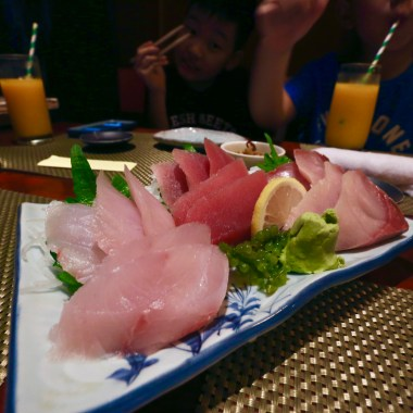 Shima Aji (2.5) + Maguro (2.5) + Hamachi (3.0) Sashimi - with this plate, the family quickly agreed that this ois the place for us.