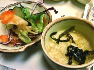 Salad in soy vinaigrette + fish porridge.
