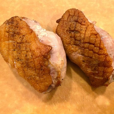 Breasts cooked, crispy-ish skin (not as crispy as I thought it would be).