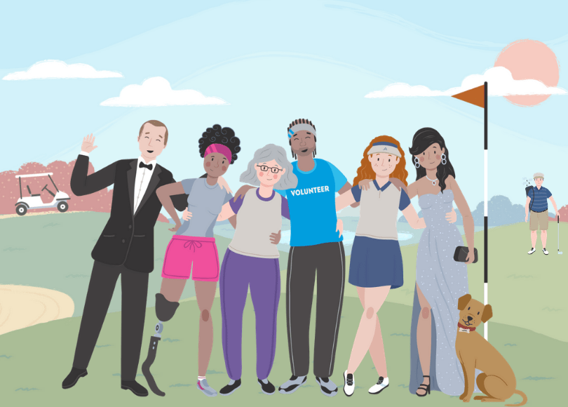 Illustration of group of friends on a golf course