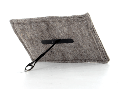 Rectangular sheep's wool draught excluder