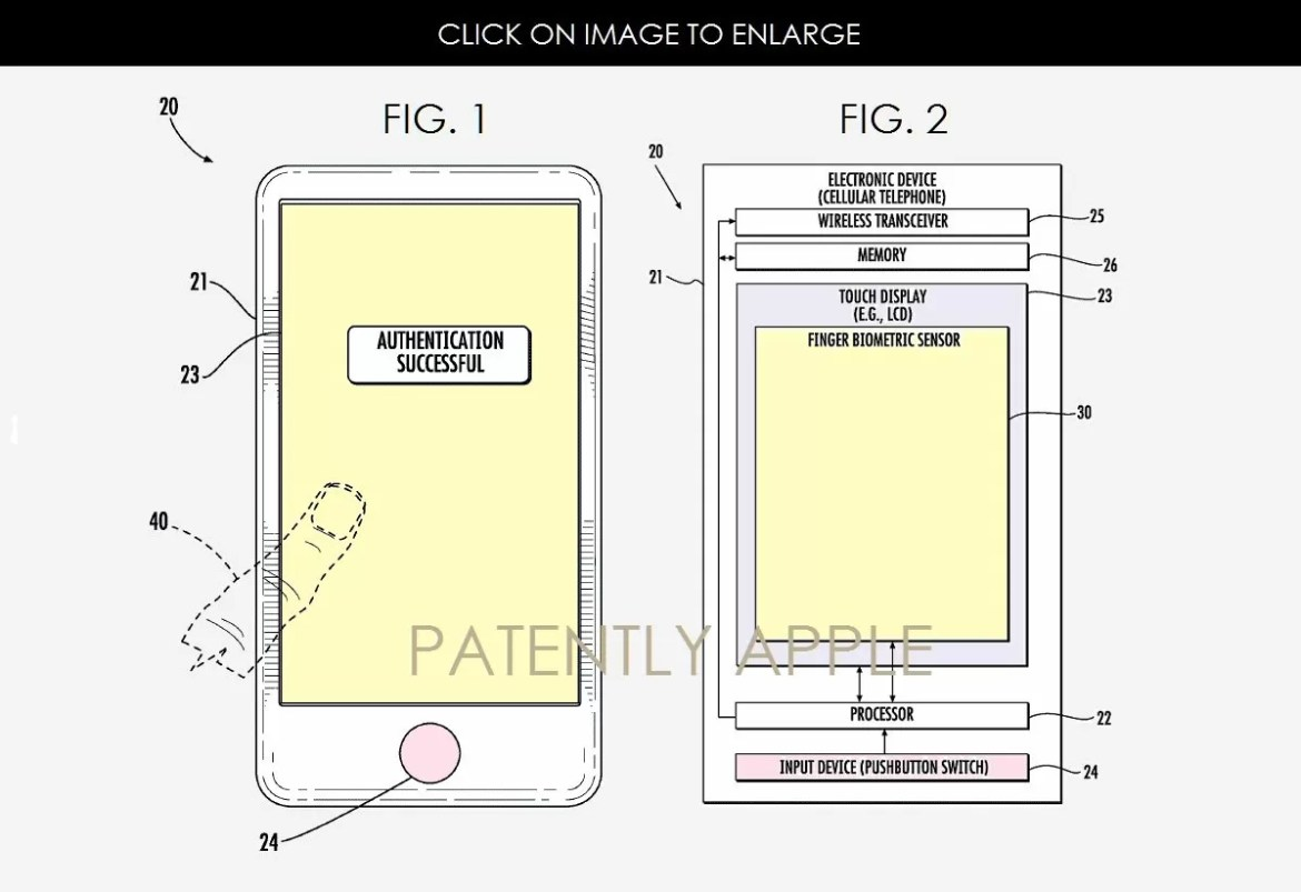 Apple iPhone 8 brevetto Touch ID