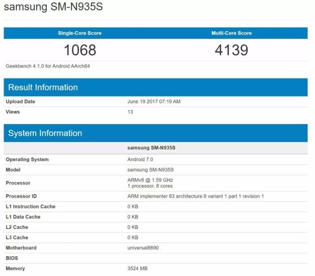 Galaxy Note 7R Geekbench