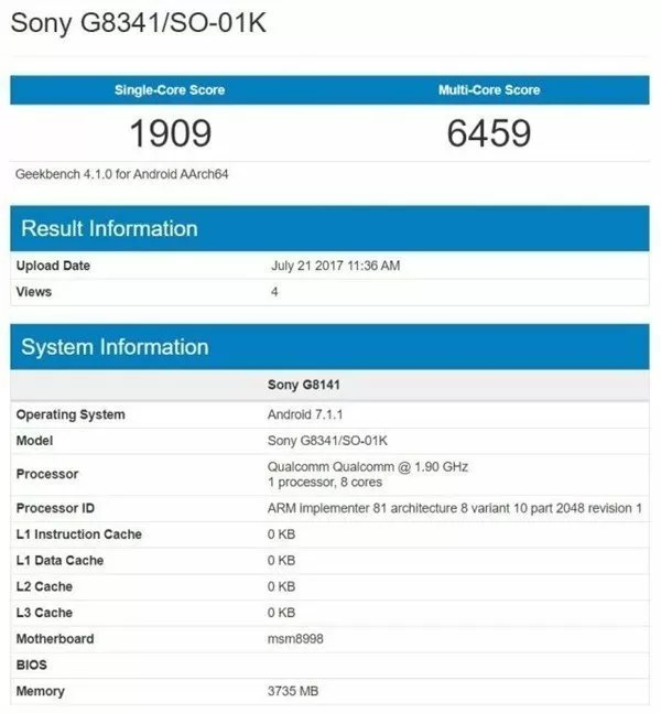 Sony Xperia XZ1 (G8341) si mostra con Snapdragon 835 e 4GB RAM