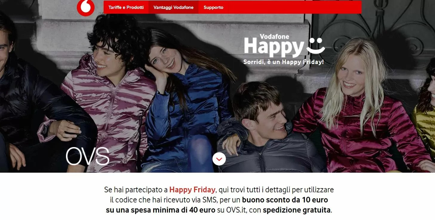 Vodafone Happy Friday: 10 euro di buono sconto da OVS