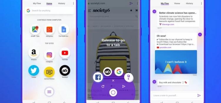 Opera Touch browser web uso ad una mano