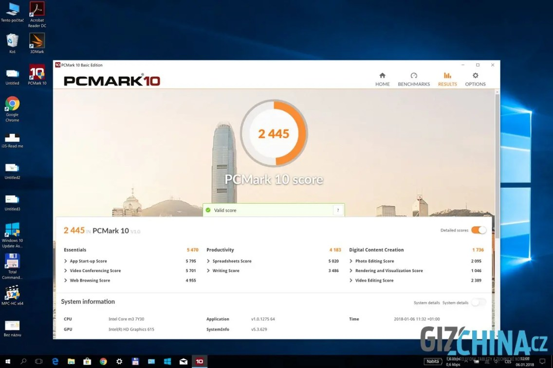 Výsledky benchmarku PC Mark 10