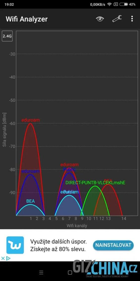 Wi-Fi se připojí k sítím na 2,4 GHz ...