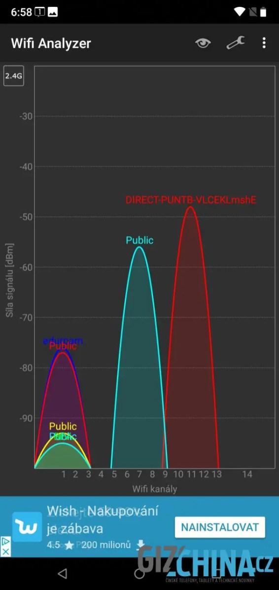 Wi-Fi pracuje v pásmu 2,4 GHz...