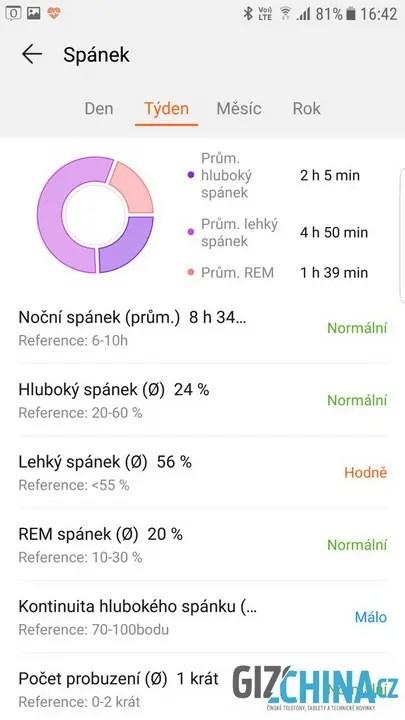 Informace o průběhu spánku