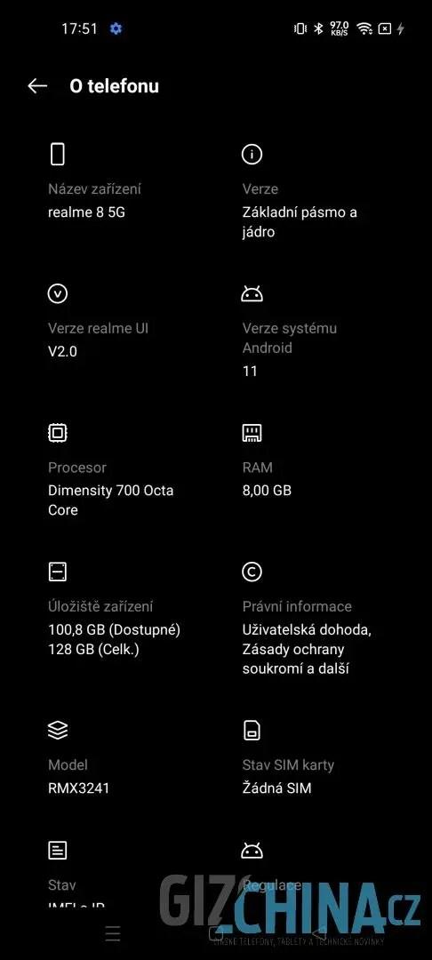 Systémové informace Realme 8 5G