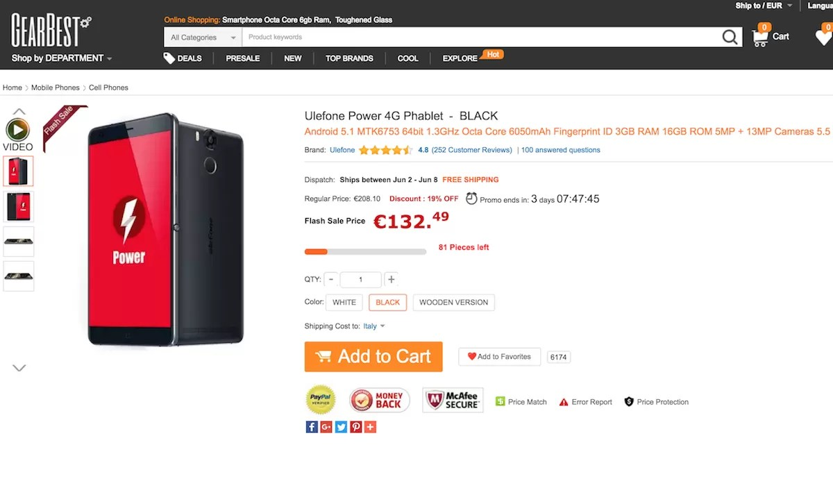 Ulefone Power In Offerta A 133 Euro Su GearBest
