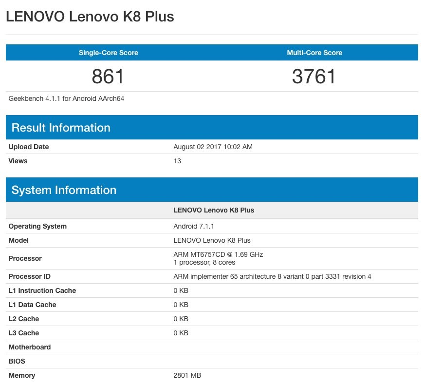 Lenovo K8 Note e Lenovo K8 Plus appaiono su Geekbench