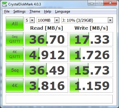 Kingston DataTraveler Mini 3.0 benchmark test using CDM
