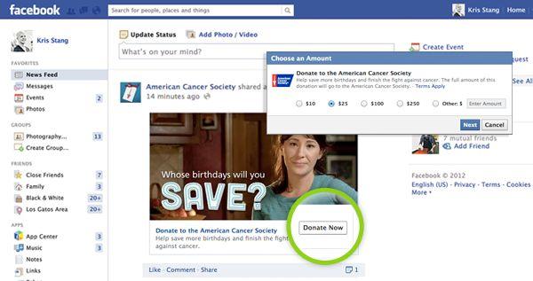 Facebook Introduces Donate Now Button