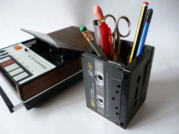 Cassette tape pencil holder