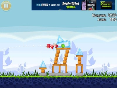 Ads no Angry Birds.