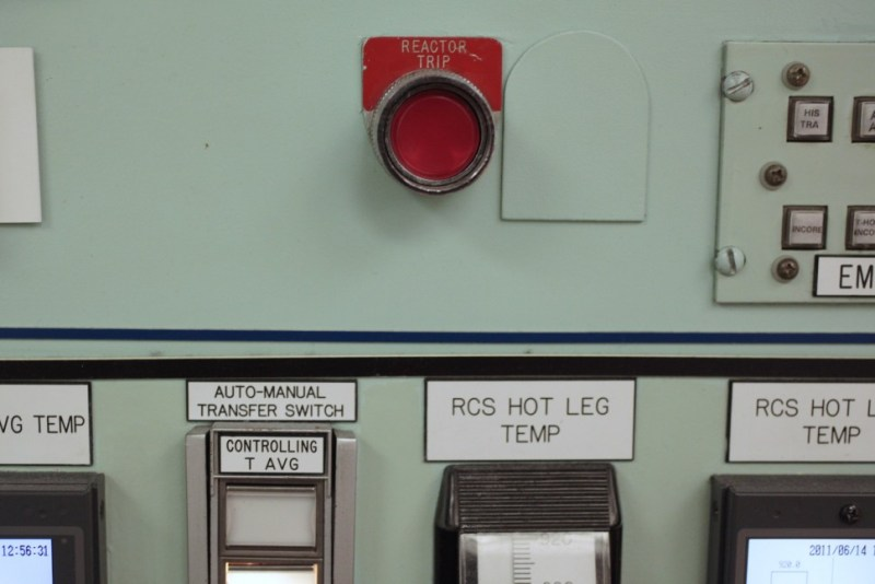 """The """"Reactor Trip"""" button seen during a tour of the Crystal River Nuclear Plant held for broadcast and print media, in Crystal River, Fla., Tuesday, June 14, 2011. Nuclear Operator Warren Gill explained that the button is pressed in an emergency shutdown situation, which would cause control rods to free-fall into the reactor and stop the nuclear reaction. (AP Photo/Will Vragovic, Pool)"""