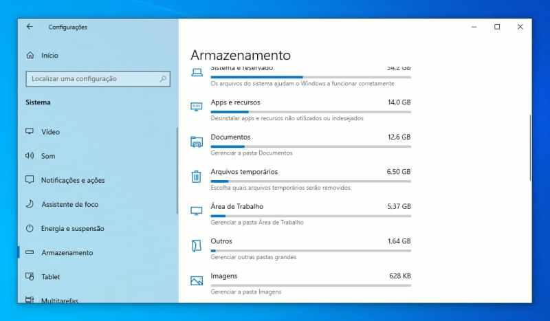 Menu que lista categorias que mais ocupam armazenamento no Windows 10