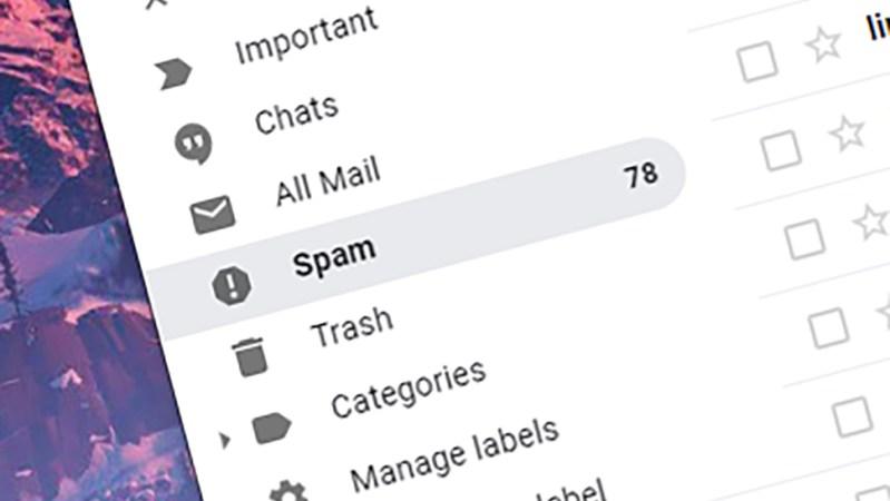 Interface do Gmail com destaque na pasta Spam. Crédito: Gizmodo