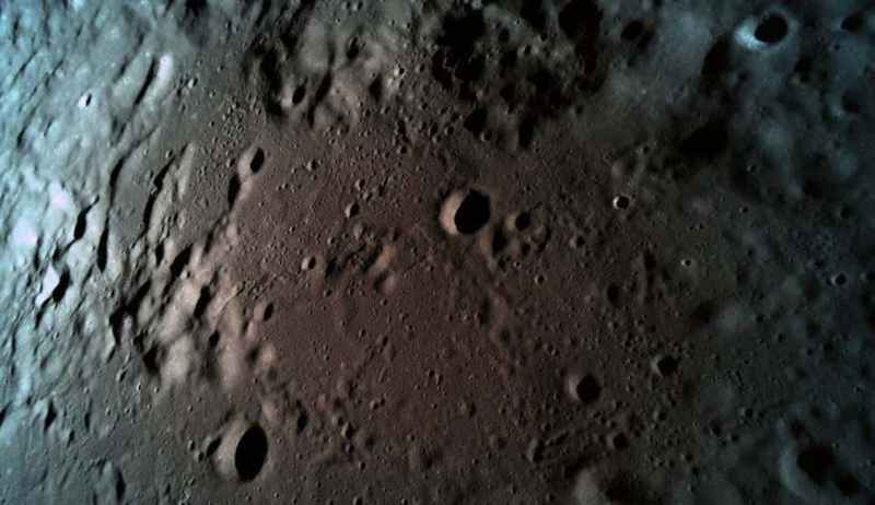 A visão final da Beresheet antes de colidir com a superfície lunar.