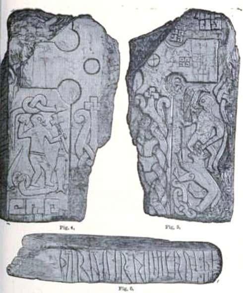 Thorwald's Cross, uma pedra rúnica fragmentada representando Odin sendo consumido