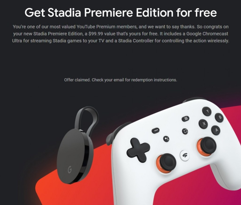 A selected Number of YouTube Premium subscribers will receive a free Stadia Premiere bundle!