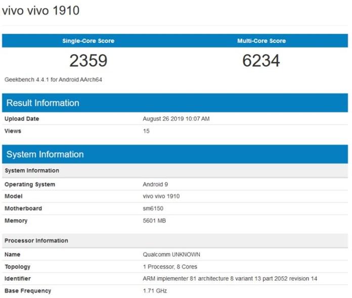 Vivo V17 Pro geekbench score