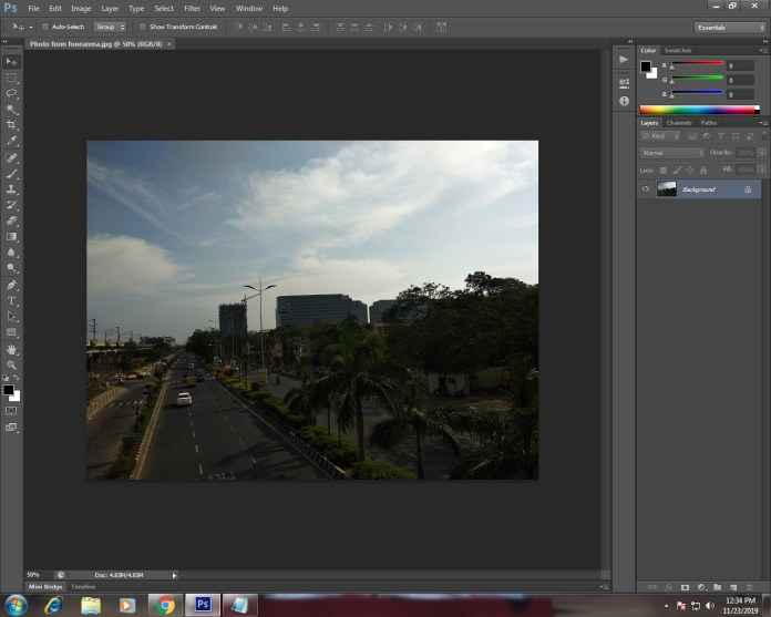 Opening photo in photoshop