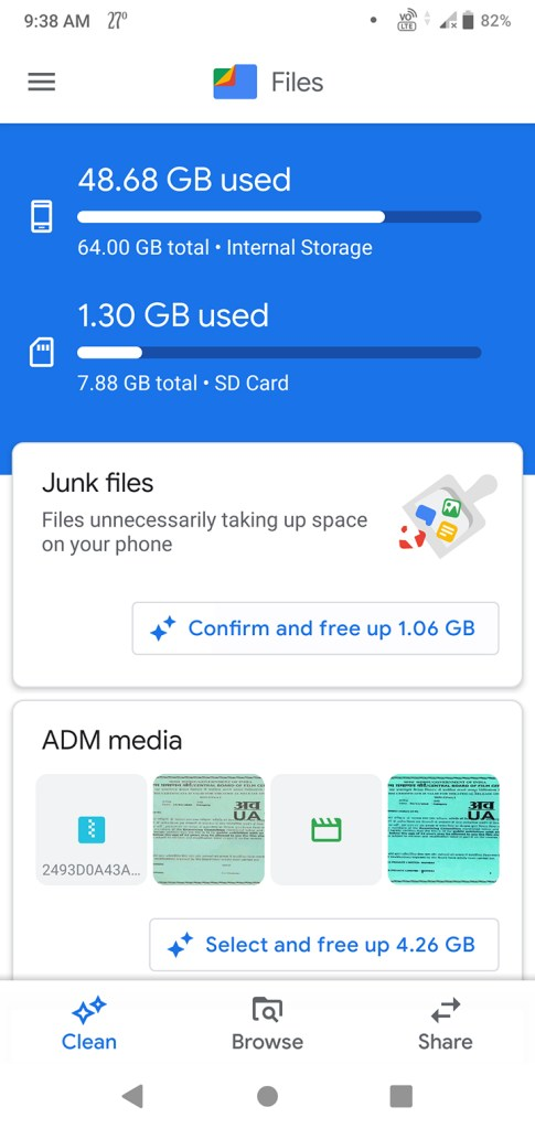 Files by Google user interface