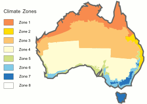 Australia has 8 zones ranging from hot (zone 1) to cold (zone 8).