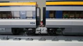 Dual LEGO City 2018 Passenger Trains Modified close up of the Jacobs bogies! 60197