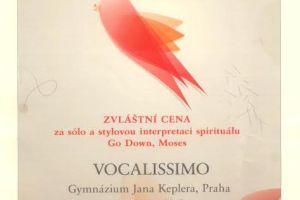 Vocalissimo diplom z Opavy 2014