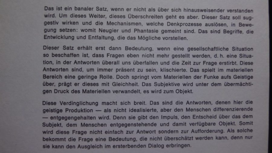 HABEN SIE SICH SCHON EINMAL DIE FRAGE GESTELLT 7.JUNI 1973 NAT.ZEITUNG BASEL PRESS ART