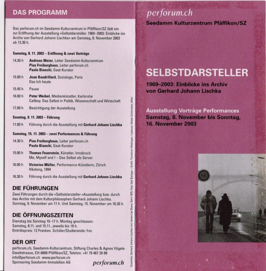 SELBSTDARSTELLER 2003