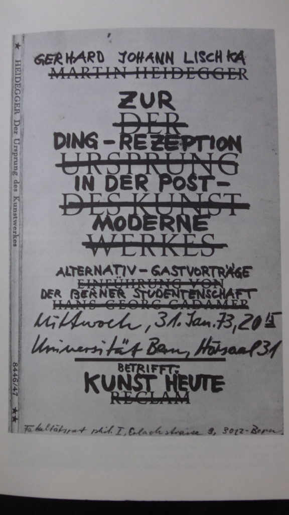 ZUR DINGREZEPTION 31. JANUAR 1973 UNIVERSITÄT BERN