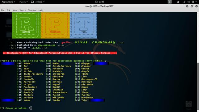 Remote Phishing Tool (RPT) 45 Website Pages – Vikas chaudhary