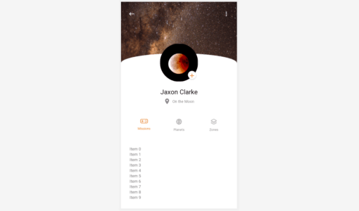 Android profile screen UI kit